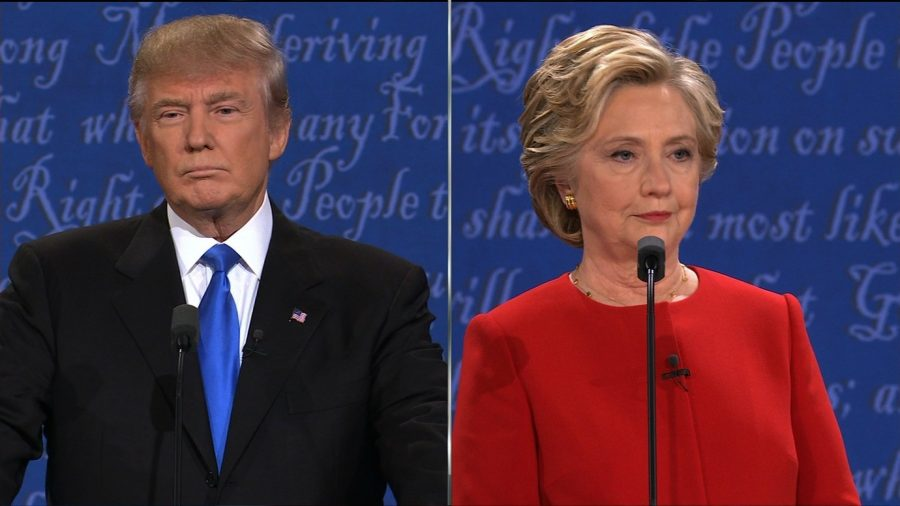 Clinton and Trump at the 1st presidential debate on September 26, 2016.