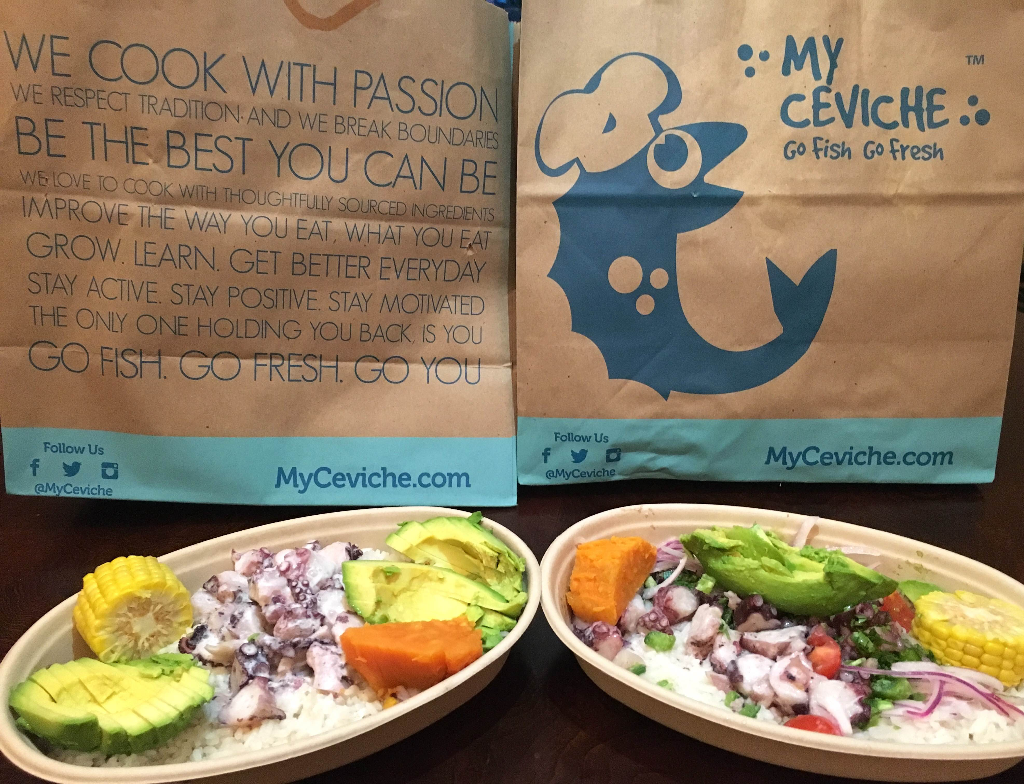 UberEATS (left) and Postmates (right) delivery of My Ceviche