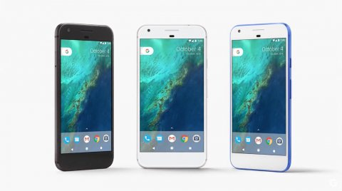 The three colors of Google Pixel (Black, White and Blue)