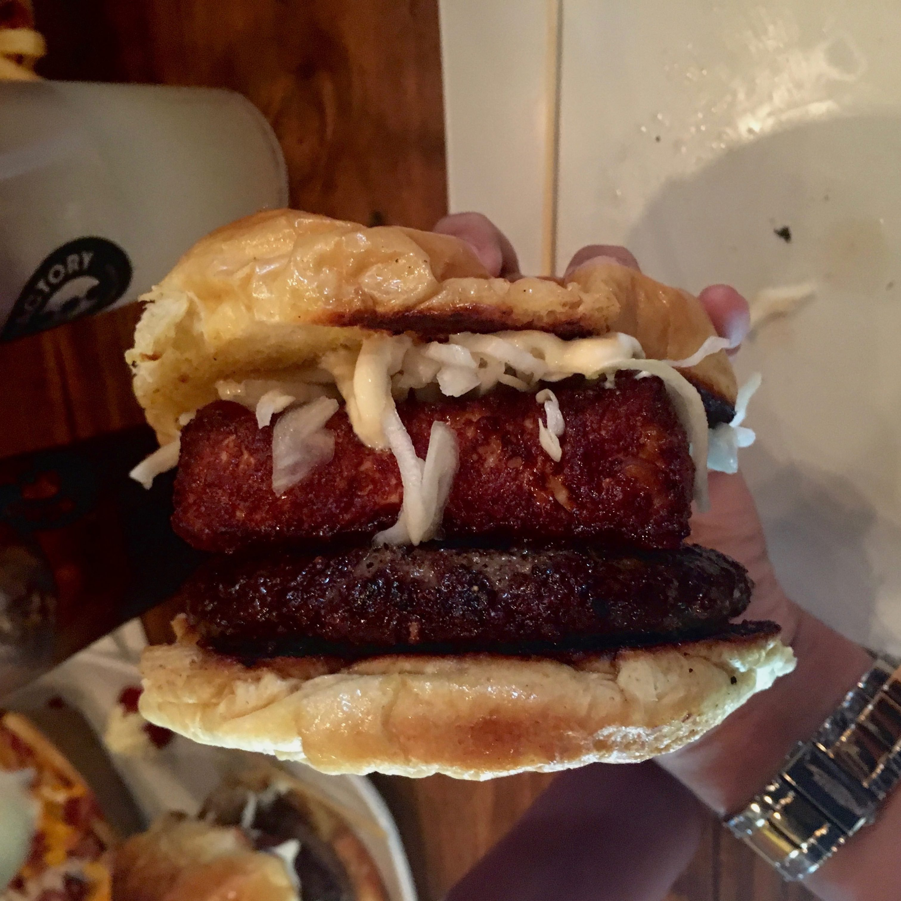 Pincho Factory offers many creative burger options, such as the Fritanga Burger.