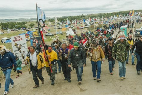 Native Americans and environmental activists protesting the Dakota Access Pipeline.