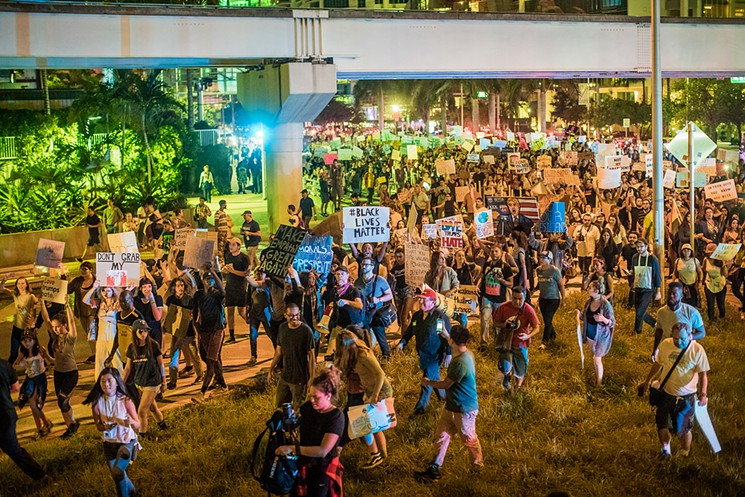 Protests in Downtown Miami were made up of thousands of people.