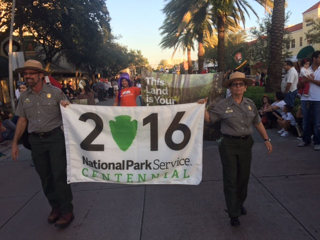 Park rangers walked the parade to celebrate the 100th anniversary of our National Parks.