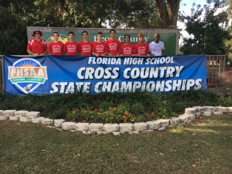 The boys' cross country team at the state championship.