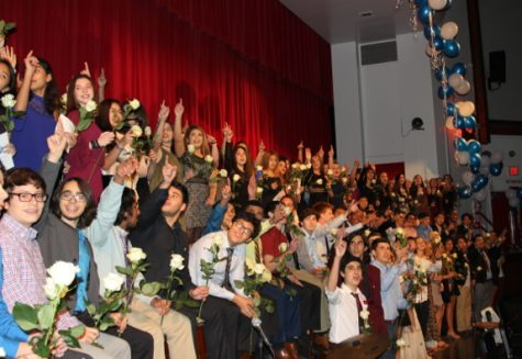 IB juniors enjoying their accomplishments at the IB Pinning ceremony hosted by IBHS.