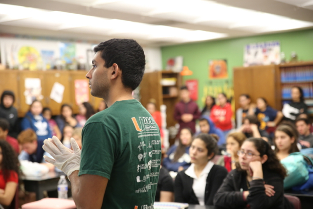 Cavaliers Interact With UM Medical Students