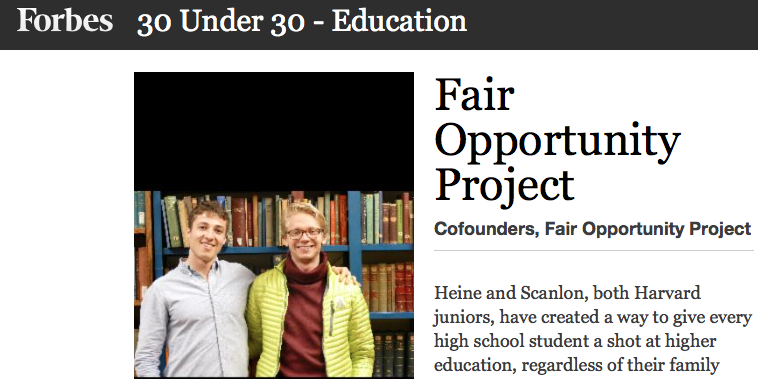 Current Harvard student and Gables alumnus, Cole Scanlon makes it on Forbes 30 Under 30 Education 2017 list!