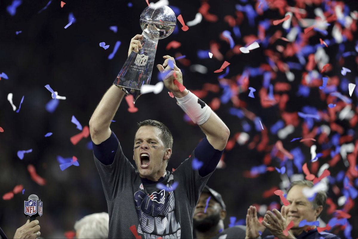 Super Bowl LI: One to Remember. Tom Brady holds the Lombardy trophy after a 25 point comeback. This is his fifth