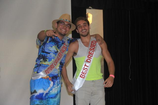 Seniors Jonathan Dearmas and Shawn Torres pose after winning superlatives.