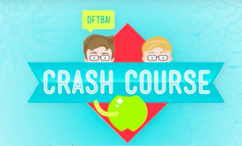 The CrashCourse logo includes a cartoon version of John and Hank Green.