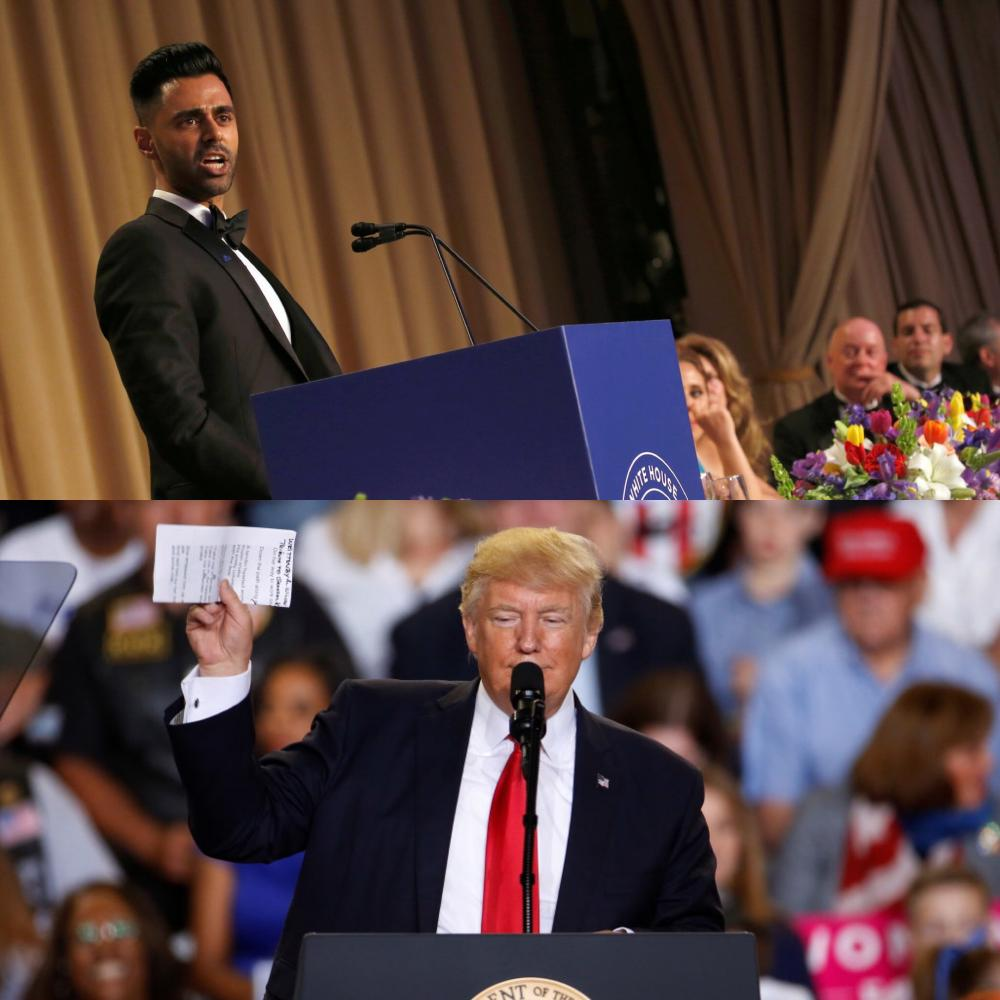 Donald Trump's 100th day was celebrated at the White House Correspondent's Dinner, and with Trump's rally 120 miles away.
