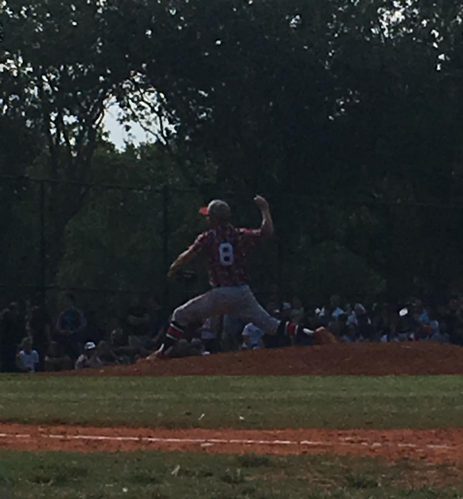 Our Cavalier pitcher prepares to pitch the ball, the Palmetto batter was not be able to hit it.