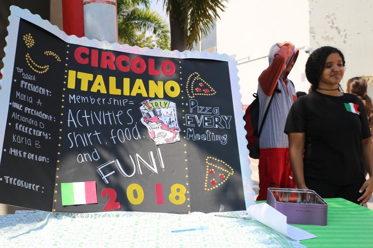 Italian Club advertises its club.
