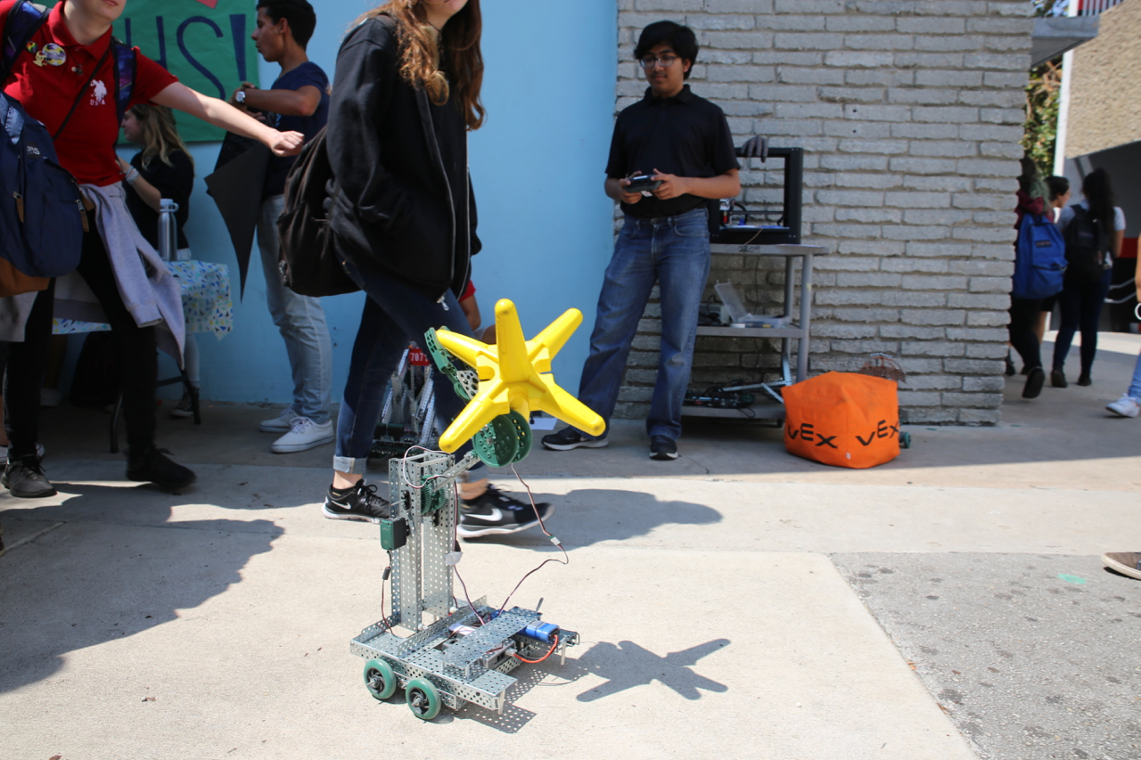 Robotics club displays some creations.