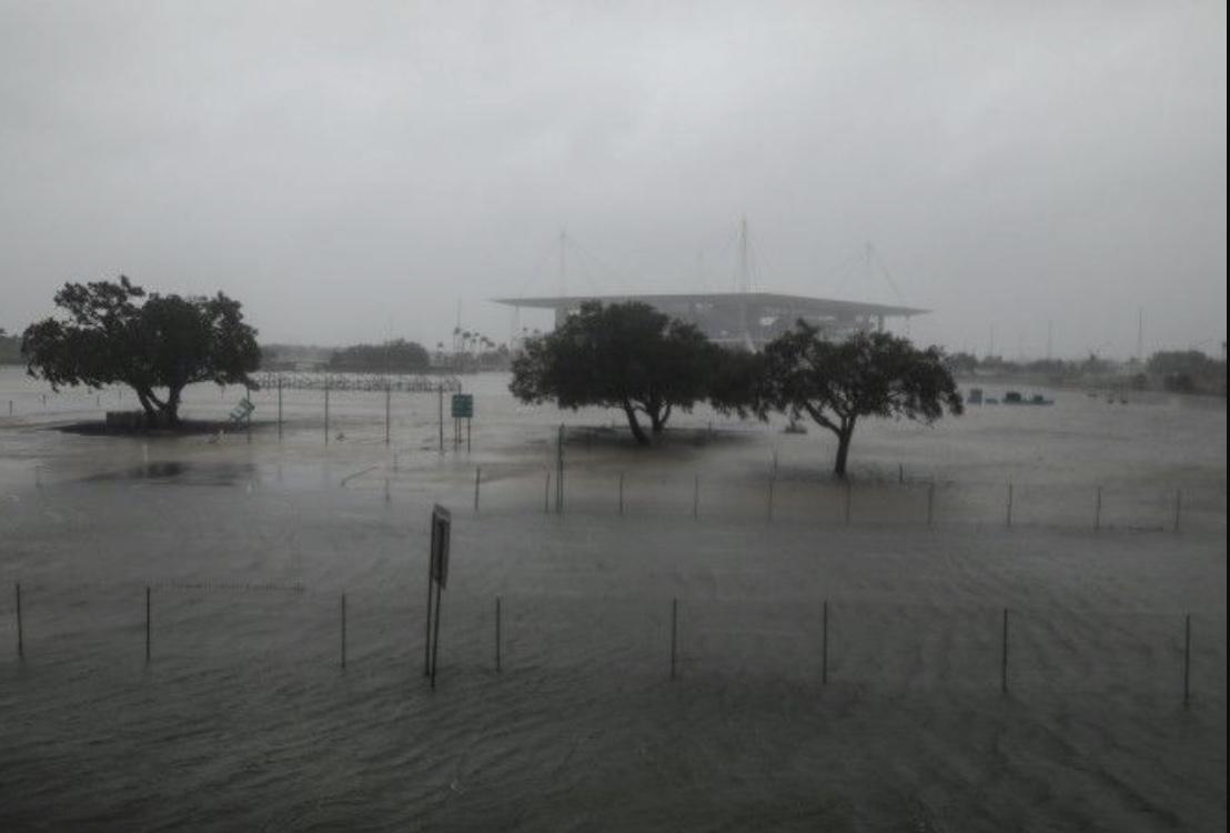 The Hard Rock Stadium during Hurricane Irma.