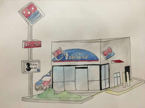 Domino's pizza art by Oraida Rodriguez