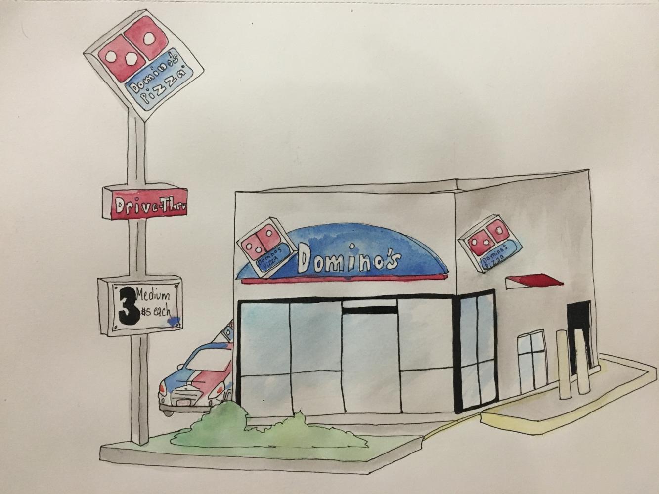 Domino's pizza art by Oraida Rodriguez