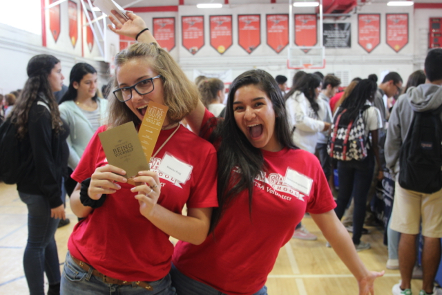 Senior volunteers Ximena Puig and Grace Sedaghatpisheh smile for a picture.