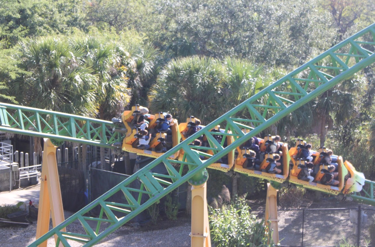 Students ride one of the many thrilling roller coasters at the park.