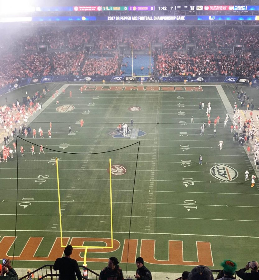 The field at the UM vs Clemson game on December 2.