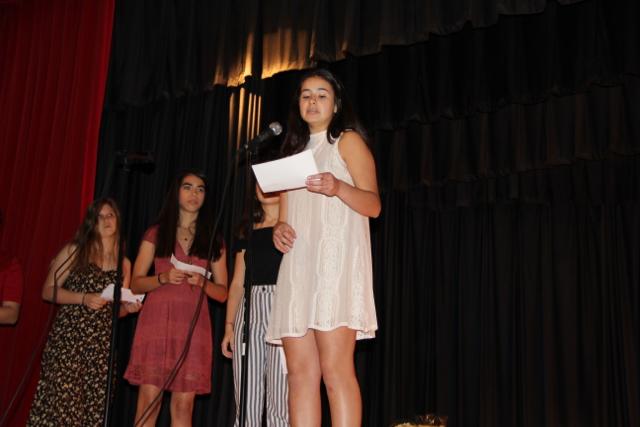 IB Freshman Sara Rabell congratulates the class in Catalan.