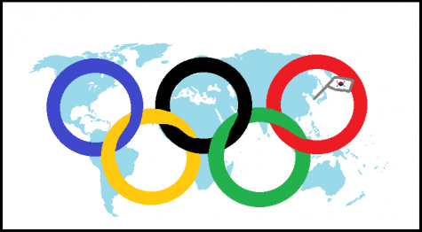 Map of the world with the Olympics rings layered on top of it. Sticking out is the South Korean flag.
