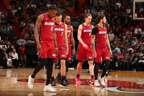 MIAMI, FL - JANUARY 7: The Miami Heat during the game against the Utah Jazz on January 7, 2018 at American Airlines Arena in Miami, Florida.
