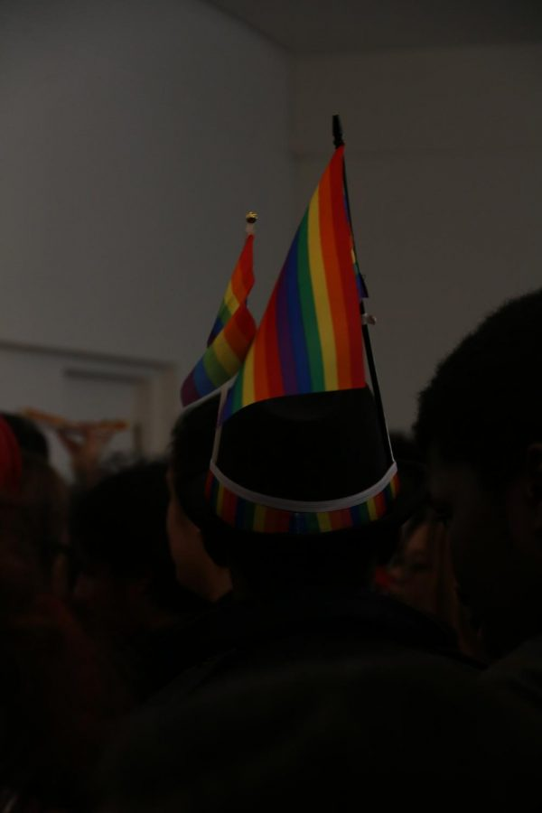 Students show off their pride by wearing rainbow hats!