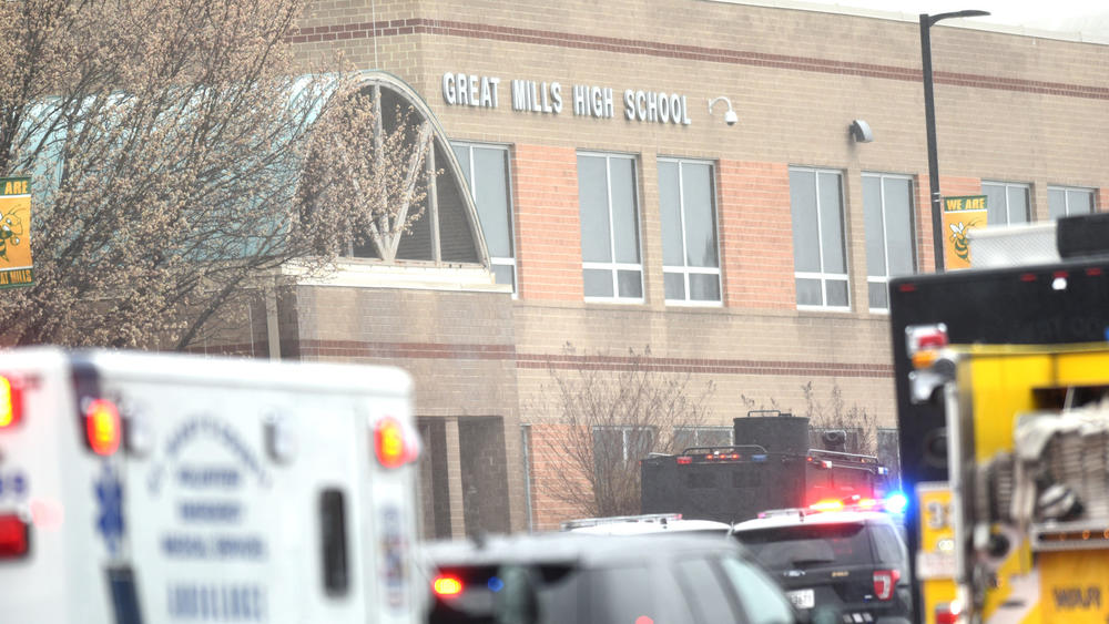 Great Mills High school was surrounded by police and paramedics after the school shooting tragedy occurred Tuesday morning.