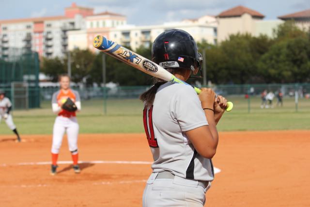 Bonilla getting ready to bat against South Miami Senior High School.