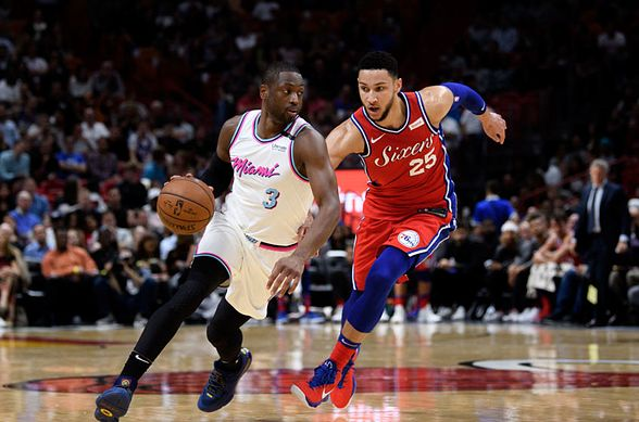 Heat guard Dwayne Wade drives to the basket during the Heat's defeat by the 76ers in Game 5.