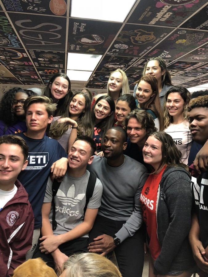 Miami Heat guard, Dwyane Wade, visits Marjory Stoneman Douglas High School.