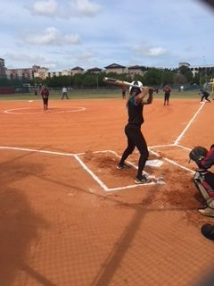 A Coral Reef batter anticipates a pitch Angelina Bonilla.