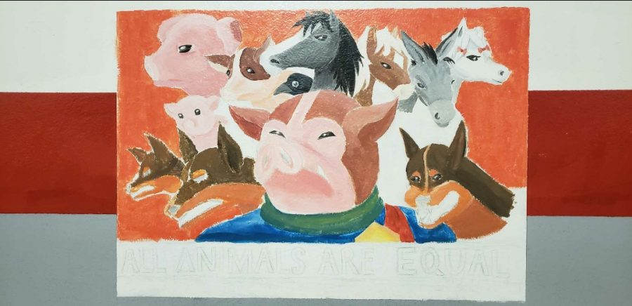 Book: Animal Farm, painting by Kate Cortez