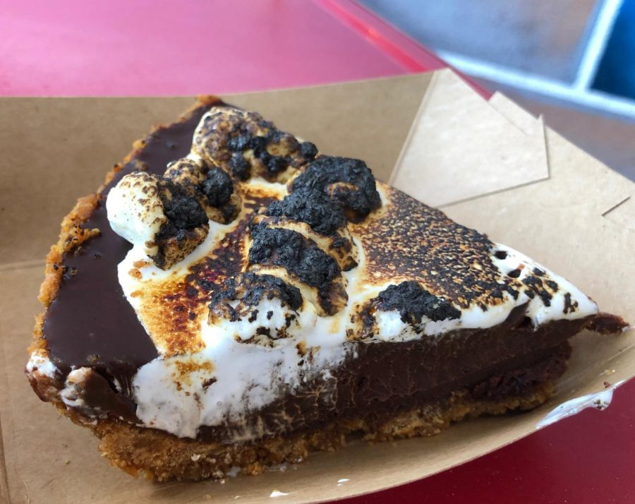 The decadent s'mores is served with a crunchy graham cracker crust, gooey chocolate mousse and roasted marshmallow filling, leaving every sweet tooth satisfied.