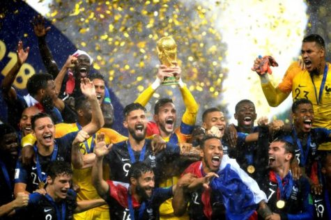 The French National Team celebrates their World Cup victory.