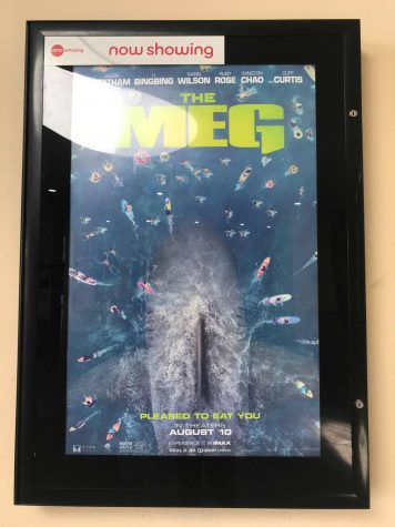 "One of the official posters for the latest shark movie ""The Meg"" in theaters now."