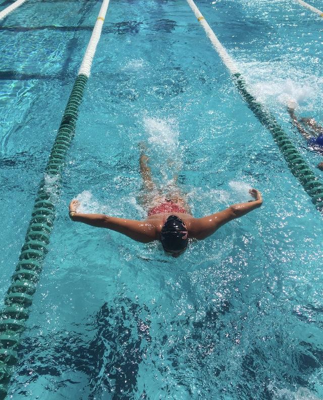 Senior+Camila+Torres+practices+her+stroke+during+swim+practice+at+Ransom+Everglades.+