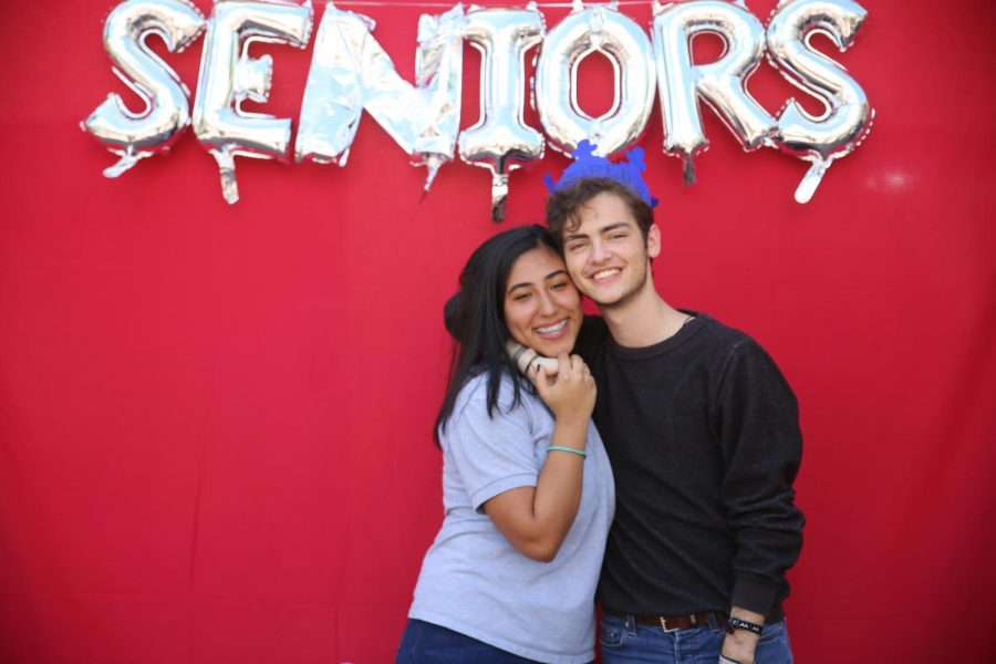 Junior Jesse Zambrano (left) and senior Andres Velasco pictured above on the first day of school with his senior crown.