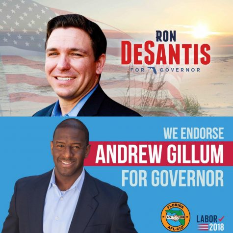 Gubernational candidates Andrew Gillum and Ron DeSantis compete against each other in this year's elections.
