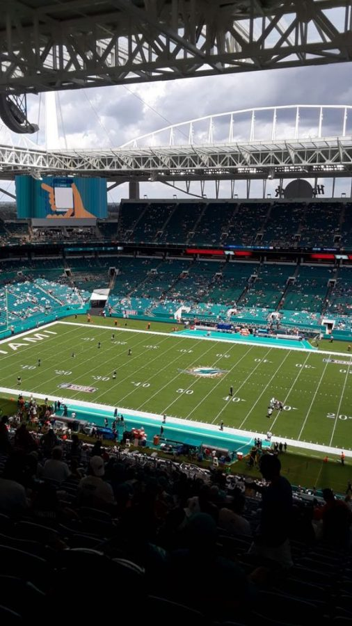 The Miami Dolphins preparing to take on the Tennessee Titans in their season opener.