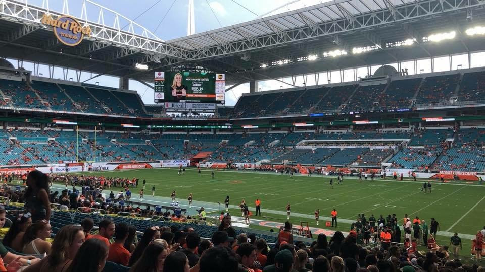The Miami Hurricanes preparing to face the Savannah State Tigers in their week two game of the regular season.
