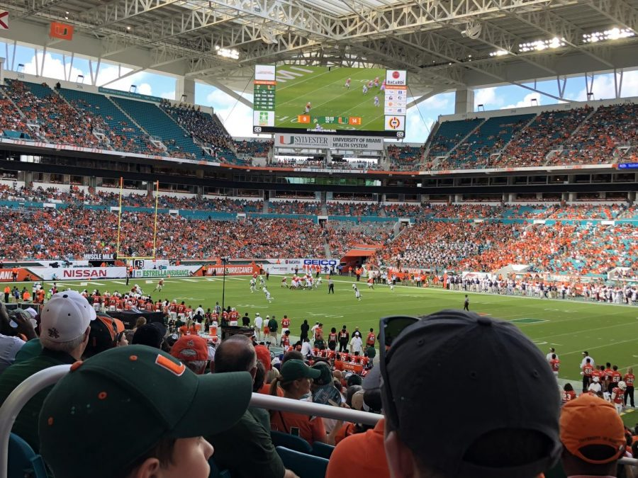 The+Miami+Hurricanes+played+the+Golden+Panthers+at+Hard+Rock+Stadium.