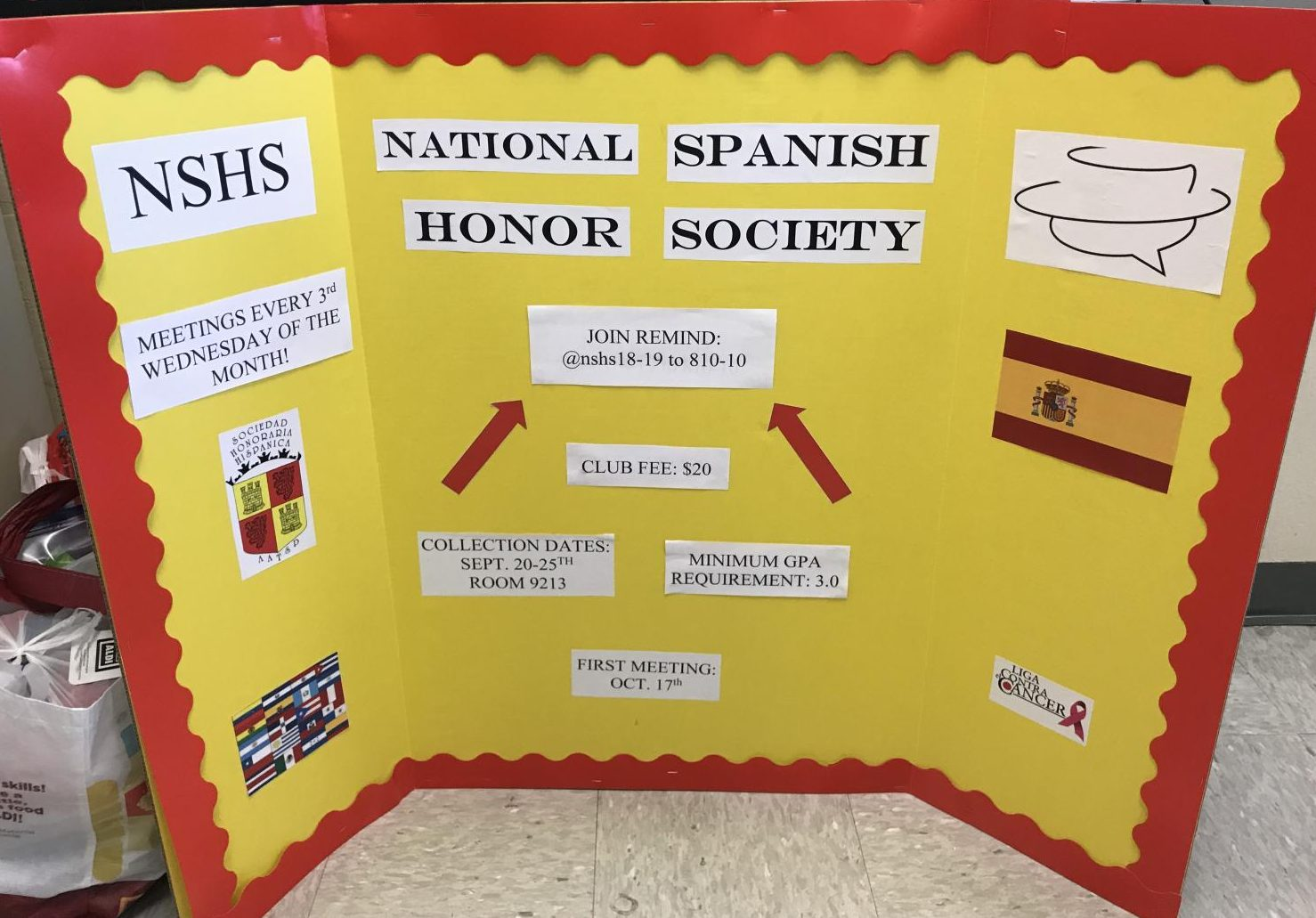 NSHS board for club fair.