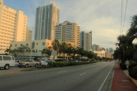 A typical view down the street of Miami Beach overlooking the expensive apartments and lavish streets.
