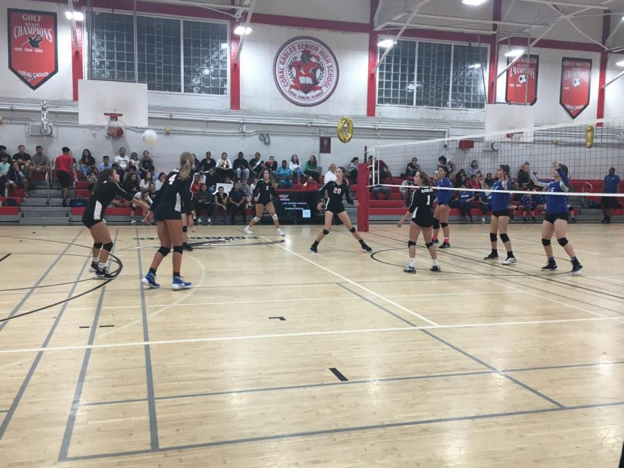 The Coral Gables Cavaliers Girls Volleyball team take on the Lady Braddock Bulldogs on their Senior Night.