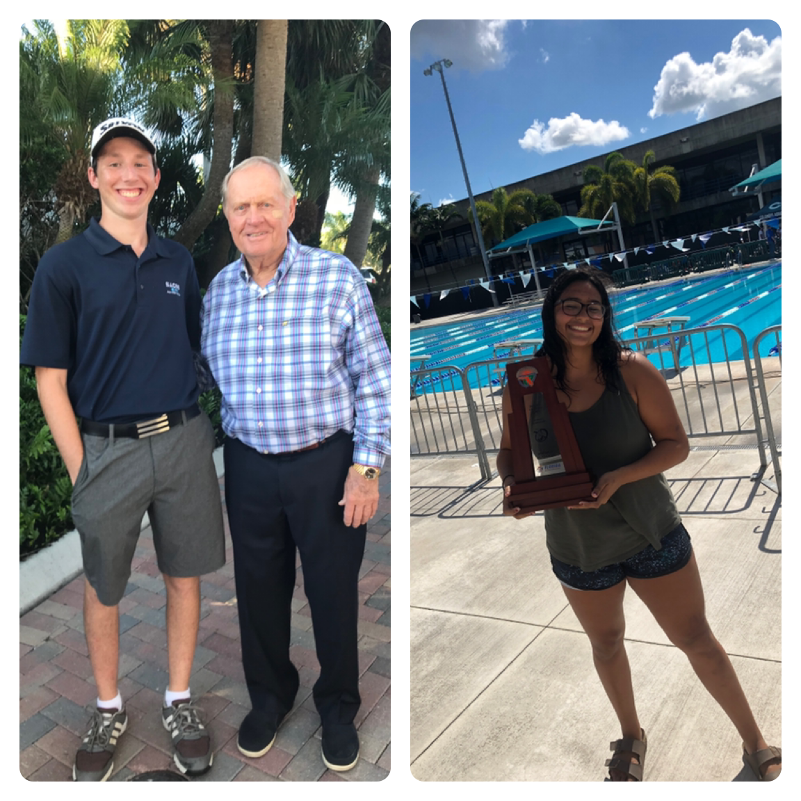 Senior golfer Max Rego (left) poses with golf legend Jack Nicklaus. Senior swimmer Camila Torres (right) holds the district runner-up trophy.