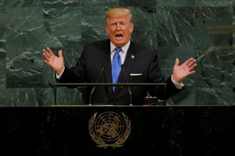 US President Donald Trump addresses the 72nd United Nations General Assembly at United Nations headquarters.
