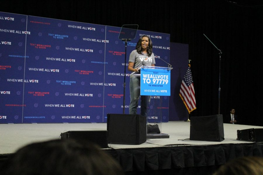 The crowd listens intensely as Mrs. Obama delivers her personal message of why registering for voting is so important.