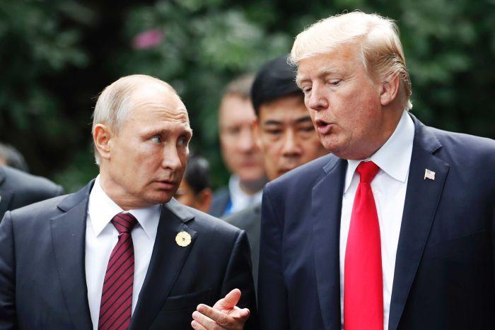 U.S.+President+Donald+Trump+meets+with+Russian+President+Vladimir+Putin
